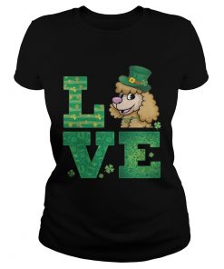 Ladies Tee Love Poodle St Patricks Day Green Shamrock TShirt