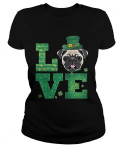 Ladies Tee Love Pug St Patricks Day Green Shamrock TShirt