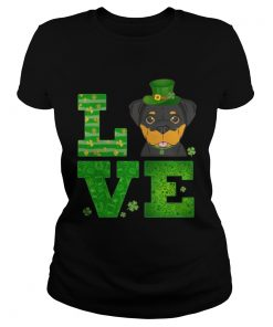 Ladies Tee Love Rottweiler St Patricks Day Green Shamrock TShirt