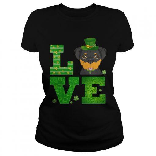 Ladies Tee Love Rottweiler St Patricks Day Green Shamrock TShirt