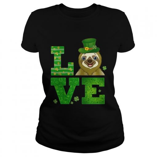 Ladies Tee Love Sloth St Patricks Day Green Shamrock TShirt