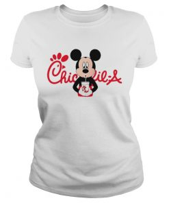 Ladies Tee Mickey mouse drinking ChickfilA shirt