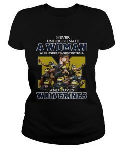 Ladies Tee Never underestimate a woman who understands football and loves Wolverines shirt