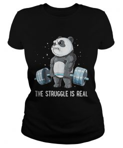 Ladies Tee Panda Bear gym the struggle is real shirt