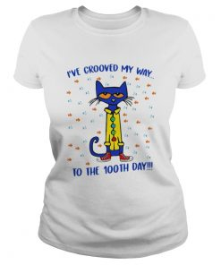 Ladies Tee Pete the Cat Ive groove my way to the 100th day shirt