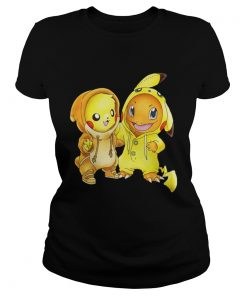 Ladies Tee Pikachu and Pikachu Charmander pokemon shirt