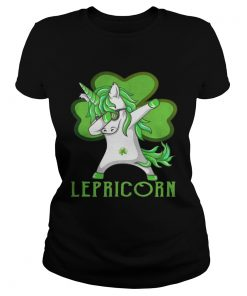 Ladies Tee St Patricks Day Dabbing Lepricorn Irish Unicorn TShirt