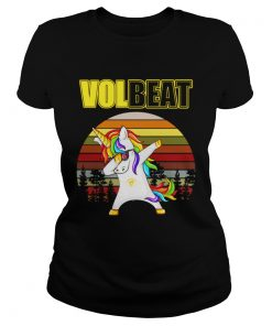 Ladies Tee Unicorn dabbing Volbeat retro shirt
