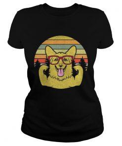 Ladies Tee Vintage Retro Style Corgi T shirt