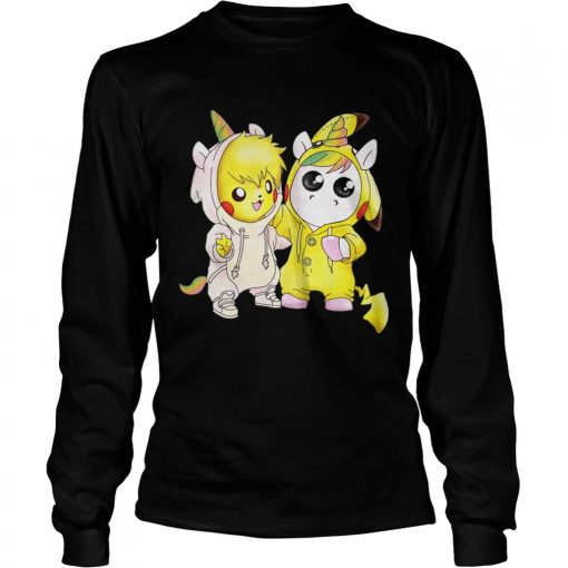 Longsleeve Tee Baby Pikachu and unicorn shirt