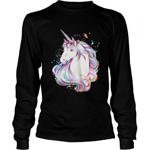 Longsleeve Tee Colorful Unicorn Rave Lover Funny Rainbow TShirt