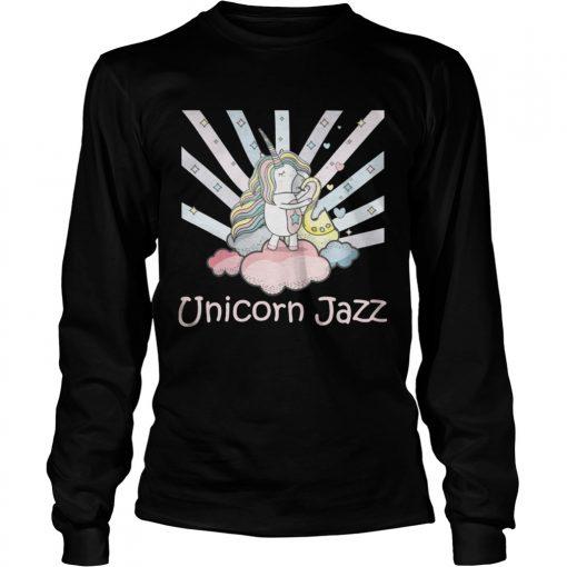 Longsleeve Tee Cute Unicorn Jazz Colorful TShirt