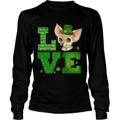 Longsleeve Tee Love Chihuahua St Patricks Day Green Shamrock TShirt