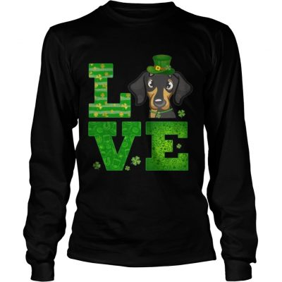 Longsleeve Tee Love Dachshund St Patricks Day Green Shamrock TShirt