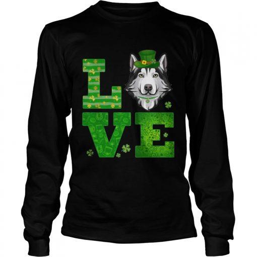 Longsleeve Tee Love Husky St Patricks Day Green Shamrock TShirt
