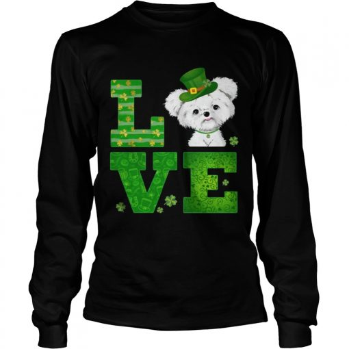 Longsleeve Tee Love Maltese St Patricks Day Green Shamrock TShirt