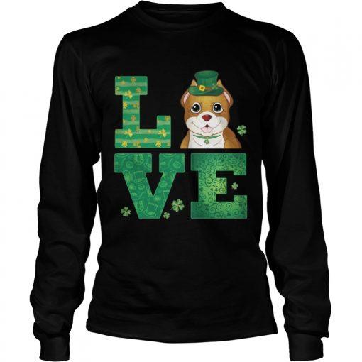 Longsleeve Tee Love Pit Bull St Patricks Day Green Shamrock TShirt