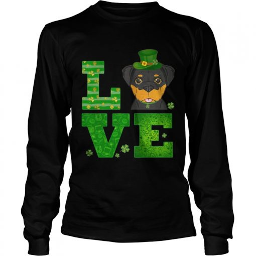 Longsleeve Tee Love Rottweiler St Patricks Day Green Shamrock TShirt