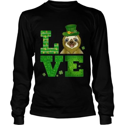 Longsleeve Tee Love Sloth St Patricks Day Green Shamrock TShirt