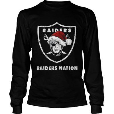 Longsleeve Tee Santa Oakland Raiders Nation Christmas ugly sweater