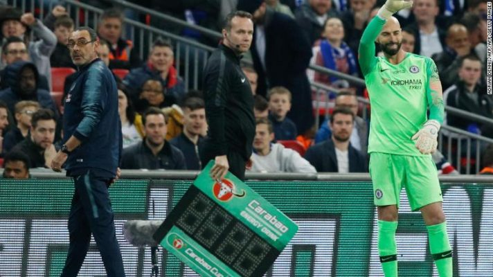 Chelsea manager Maurizio Sarri wanted to bring on Willy Caballero in the League Cup final in extra time.