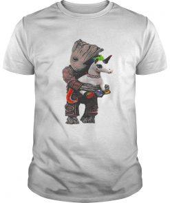 Guys Baby Groot hug unicorn shirt