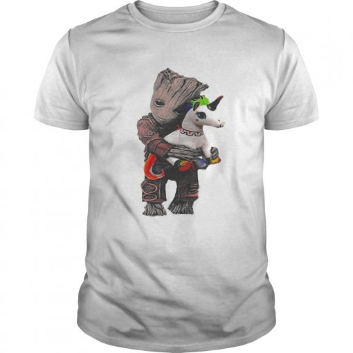 Guys Baby Groot hug unicorn shirt