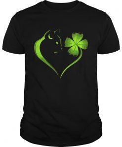 Guys Cat Irish Four leaf clover heart T-Shirt