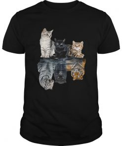 Guys Cats reflection tigers shirt