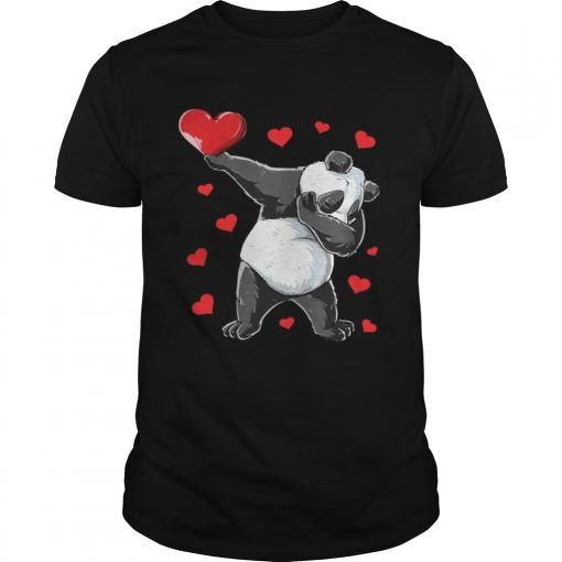 Guys Dabbing Panda Heart Valentines Day Bear Shirt