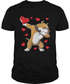 Guys Dabbing Pit Bull Valentines Day Dog Lover Heart Shirt
