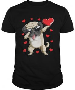 Guys Dabbing Pug Valentines Day Dog Lover Heart Shirt