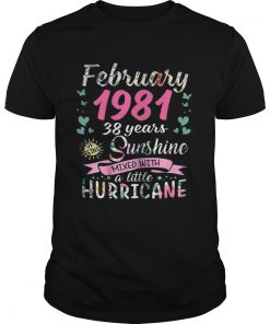 Guys February 1981 38 years sunshine mixed with a little hurricane shirt