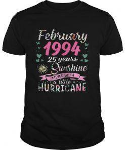 Guys February 1994 25 years sunshine mixed with a little hurricane shirt