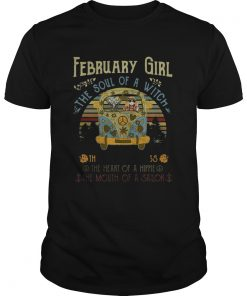 Guys February girl the soul of a witch the fire of a lioness the heart vintage shirt