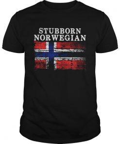 Guys Iceland Flag Stubborn Norwegian Shirt
