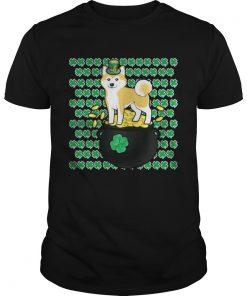 Guys Lucky Shiba Inu Shamrock St Patricks Day Shirt
