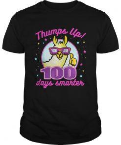 Guys Thumps Up 100 Days Smarter Llama Shirt