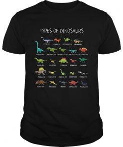 Guys Types of dinosaurs Diplodocus Allosaurus Parasaurolophus Ankylosaurus shirt