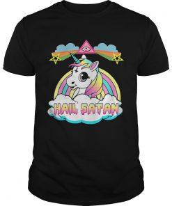 Guys Unicorn hail Satan shirt