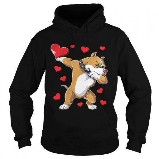Hoodie Dabbing Pit Bull Valentines Day Dog Lover Heart Shirt