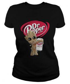 Ladies Tee Baby Groot hug Dr Pepper shirt