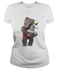 Ladies Tee Baby Groot hug unicorn shirt