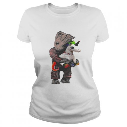 Ladies Tee Baby Groot hug unicorn shirt