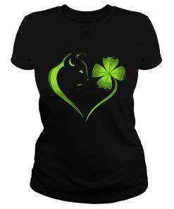 Ladies Tee Cat Irish Four leaf clover heart T-Shirt