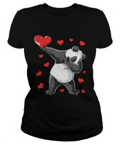 Ladies Tee Dabbing Panda Heart Valentines Day Bear Shirt