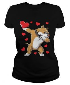 Ladies Tee Dabbing Pit Bull Valentines Day Dog Lover Heart Shirt