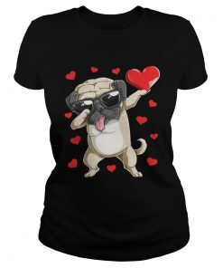 Ladies Tee Dabbing Pug Valentines Day Dog Lover Heart Shirt