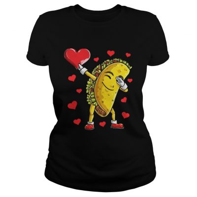 Ladies Tee Dabbing Taco Heart Valentines Day Food Lovers Shirt