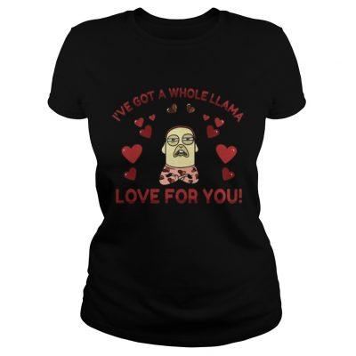 Ladies Tee Funny Llama Pun Love Heart Meditation Yoga Shirt